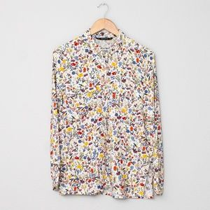 Zara Basic Women's All Over Floral Print Button Up